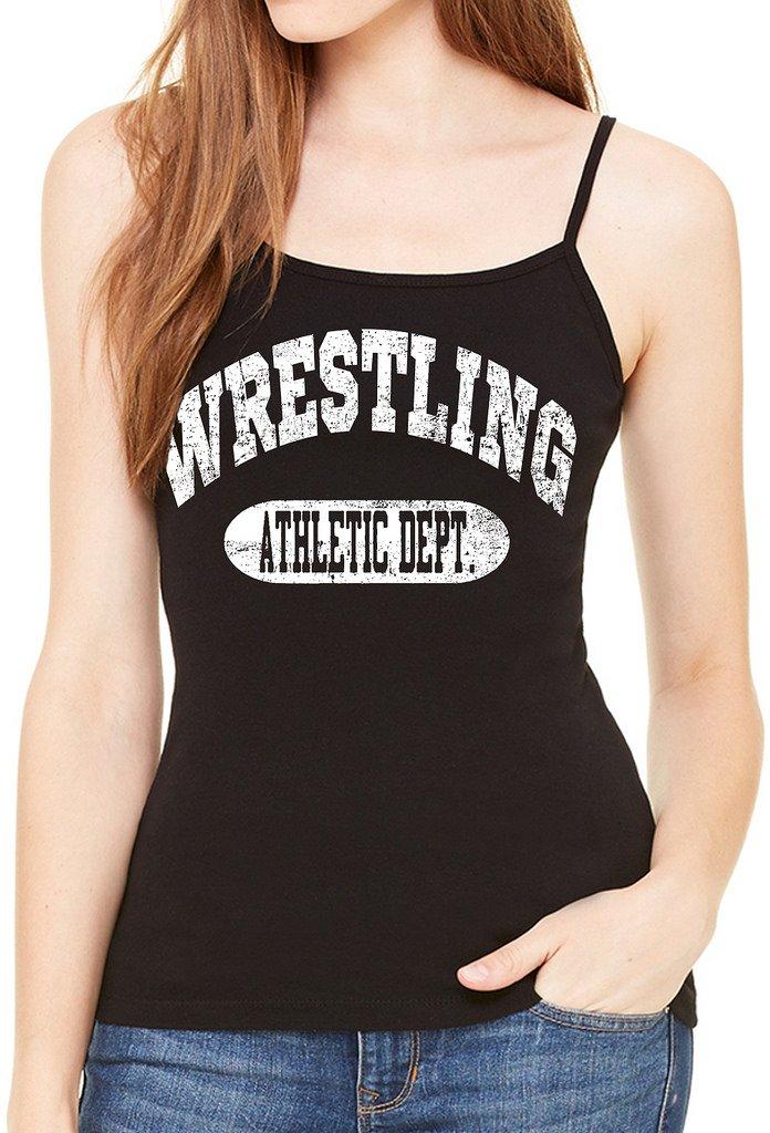 Interstate Apparel Inc Junior's Wrestling Athletic Dept. Black Spaghetti Strap T-Shirt Medium Black by Interstate Apparel Inc
