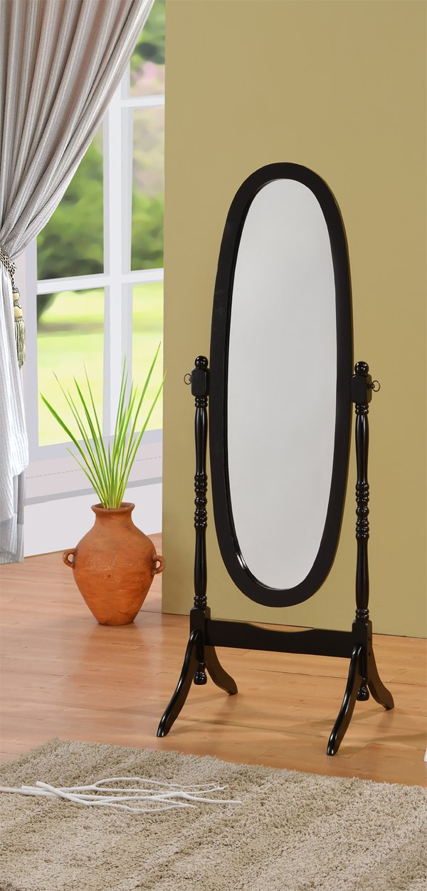 Queen Ann Style Cheval Floor Wood Mirror Black Finish