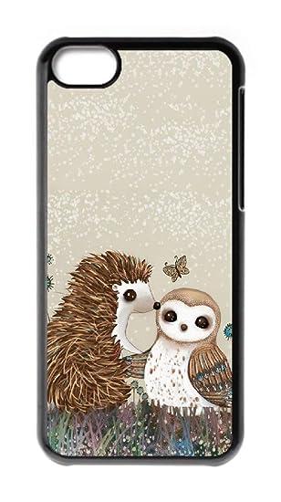 watch 6a8e7 38ac2 Amazon.com: Custom iPhone 5C Cases - Cute Hedgehog Owl Hard Plastic ...