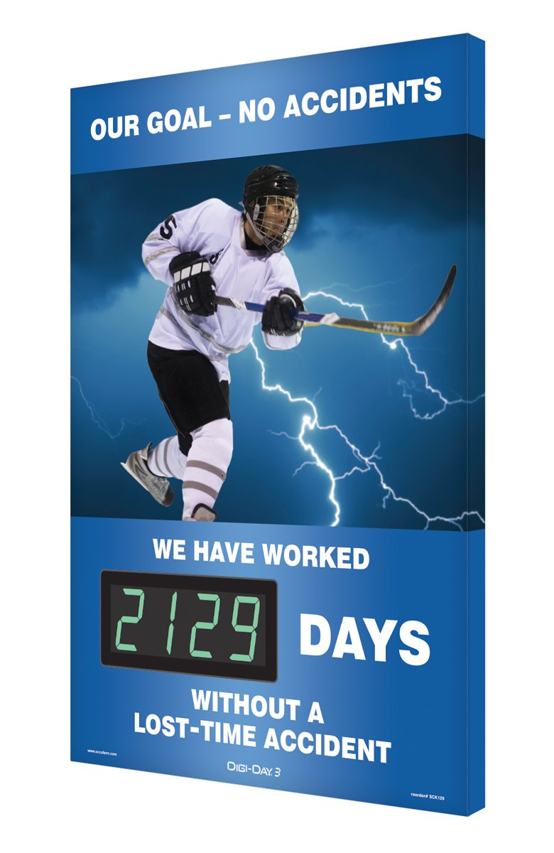 Accuform Digi-Day 3 Electronic Safety Scoreboard,''OUR GOAL - NO ACCIDENTS - WE HAVE WORKED #### DAYS WITHOUT A LOST TIME ACCIDENT'' with Hockey Graphic (SCK129)