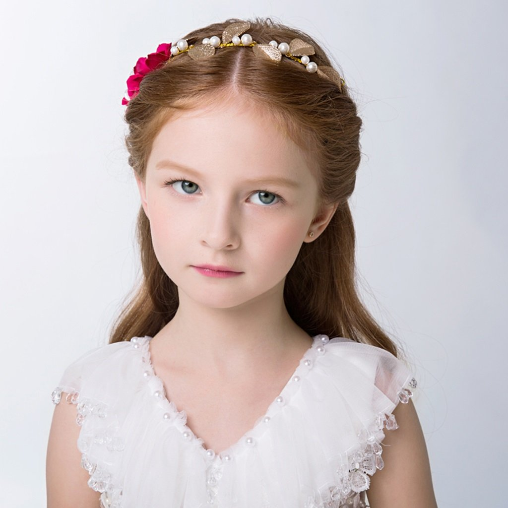 Wreath Flower, Girl Hair Ornaments Headband Accessories Child Princess Headdress (Color : Red)