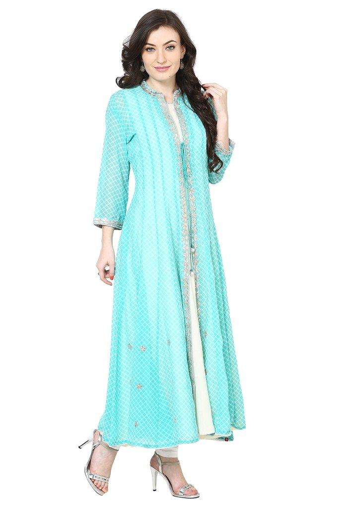 BIBA Turquoise & Off White Poly Cotton Kalidar Suit Set36