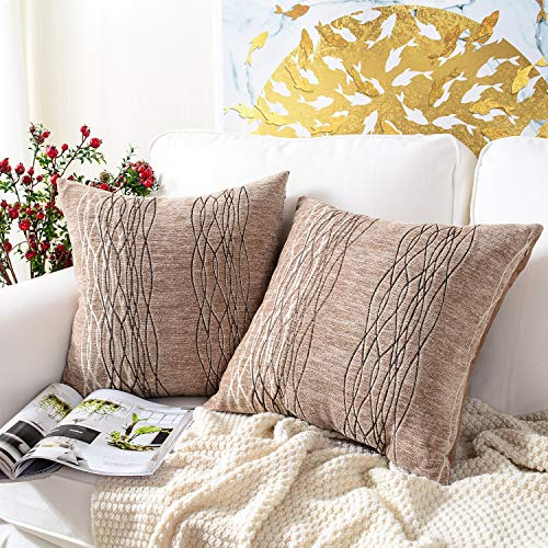 MERNETTE Pack of 2, Chenille Soft Decorative Square Throw Pillow Cover Cushion Covers Pillowcase, Home Decor Decorations for Sofa Couch Bed Chair 18x18 Inch/45x45 cm (Light -