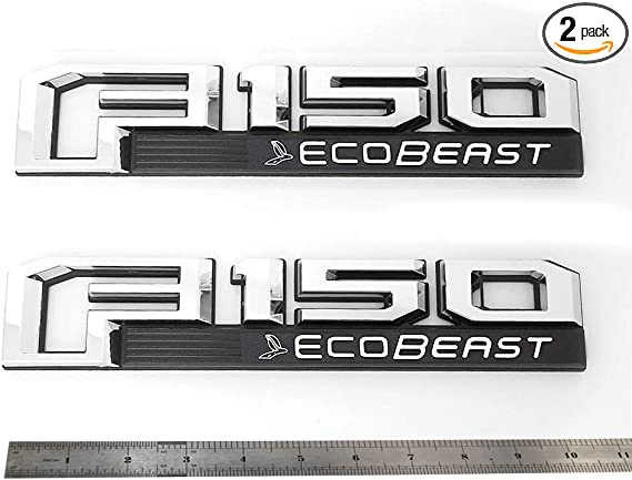 2x OEM ECOBOOST Badge Emblem 3D Nameplate Replacement for SUV F150 ECOBOOST Chrome 2011-2018 Origianl size Genuine Parts Sanucaraofo