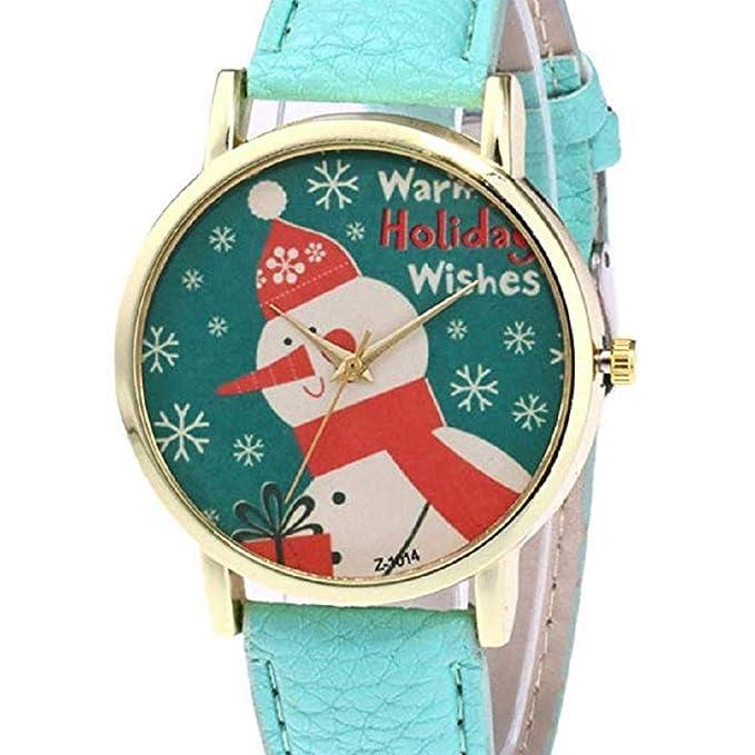 ¡Promoción Mujeres Cuarzo Reloj de liquidación de Navidad muñeco de Nieve patrón analógico Relojes Femeninos señora Relojes Reloj de Cuero (Verde): ...