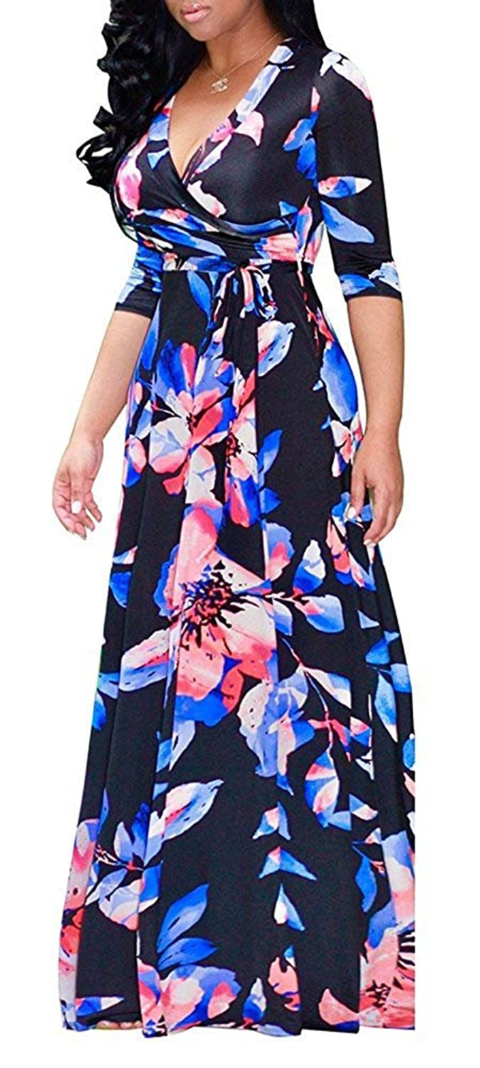 4424b9f8a4c0 Features: sexy v neck dress,floral patterned,casual maxi dress. We add the  linings not only bottom but also top part of the dress,so there is ...