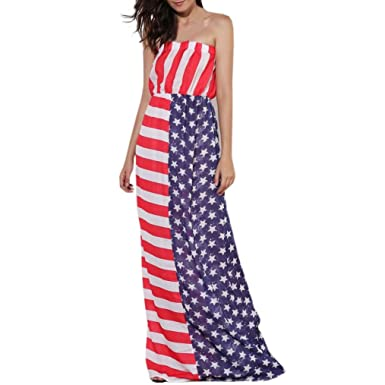 Dress,kaifongfu Women National Flag Print Off The Shoulder Sleeveless Long Maxi Casual Pleated Wrapped