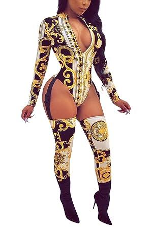 9de5edb368b Amazon.com  Fixmatti Women African Jumpsuit Deep V Neck Thong Bodysuit with  Bodystocking  Clothing