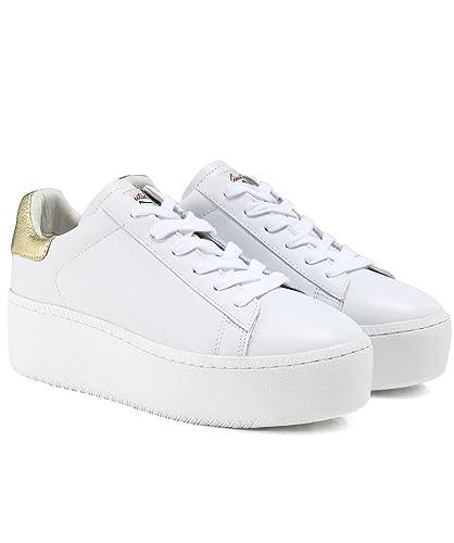 fdff1e92c14 Ash Women s Leather Cult Platform Trainers White   Ariel  Amazon.co.uk   Shoes   Bags