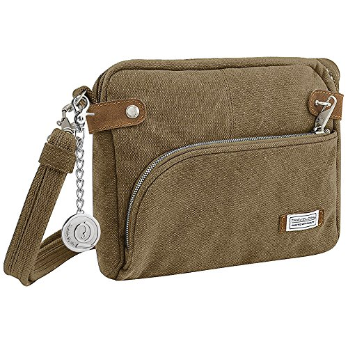 Travelon 33071 Anti-Theft Heritage Crossbody Bag with Metal Charm Keychain Oatmeal