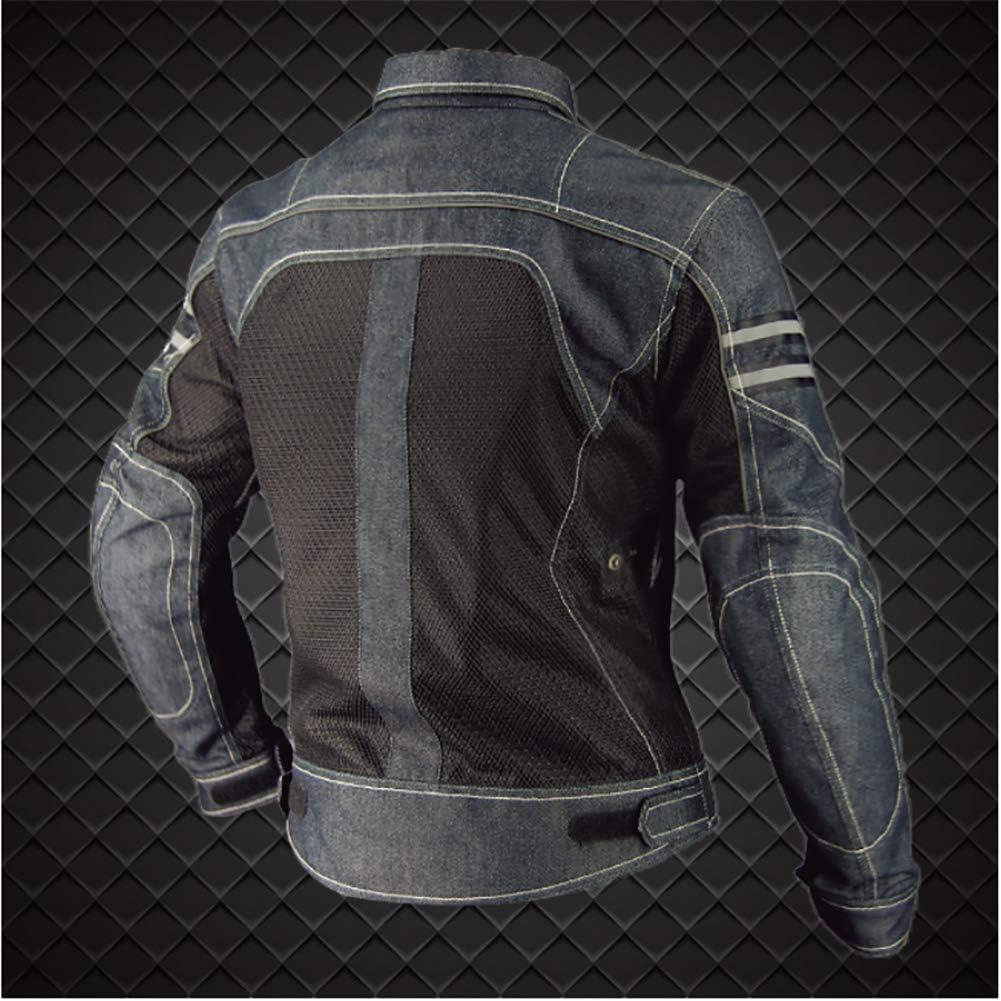 Armours CE Transpirable Anti-ca/ída Resistente Cuatro Estaciones Chaqueta para Motocicleta YYSDH Estilo Casual Denim Unisex Chaqueta de Moto