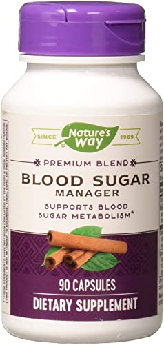 Natures Way Blood Sugar Manager, 6-Herb Blend, Supports Blood Sugar Metabolism*, 90 Capsules