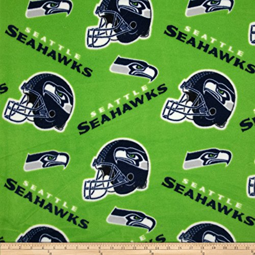 Fabric Traditions NFL Fleece Seattle Seahawks Tossed Helmets Fabric by the Yard, (Cotton Fleece Fabric)