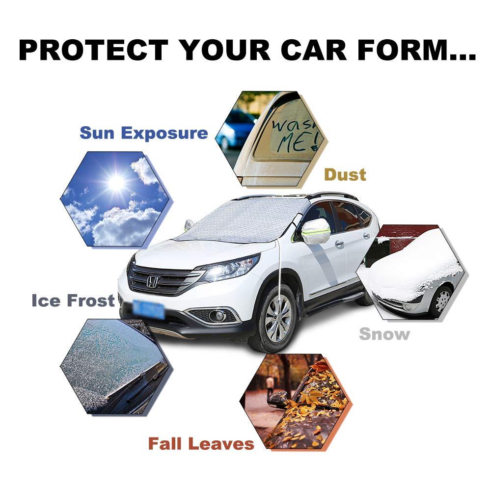 iZoeL Windschutzscheibenabdeckung Abdeckplane Auto Frontscheibenabdeckung Magnetische autoabdeckung Frostschutz Eis Schnee Universal 120cm*186cm f/ür Universal Auto SUV PKW LKW