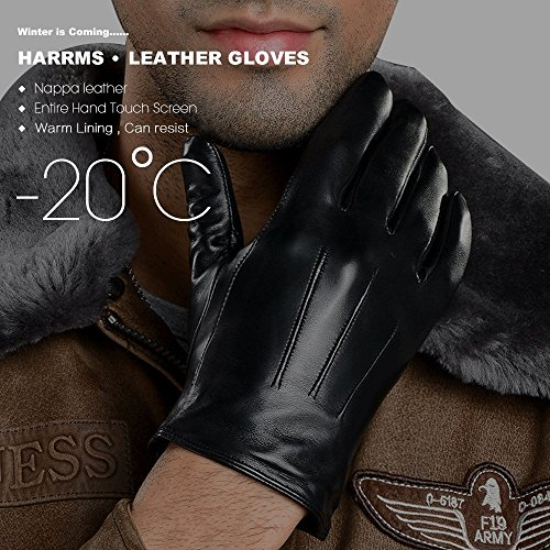 Harrms Best Touchscreen Nappa Genuine Leather Gloves for men's Texting Driving Gift Option (L-8.9''(US Standard Size), BLACK) by Harrms (Image #2)
