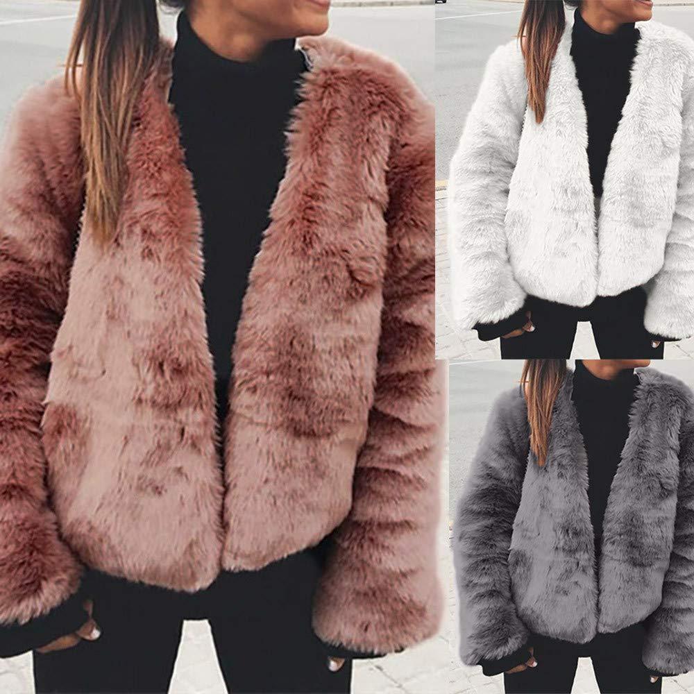 ManxiVoo Women Winter Warm Faux Fur Jacket Cardigan Long Sleeve Outerwear Tops Warm Coat