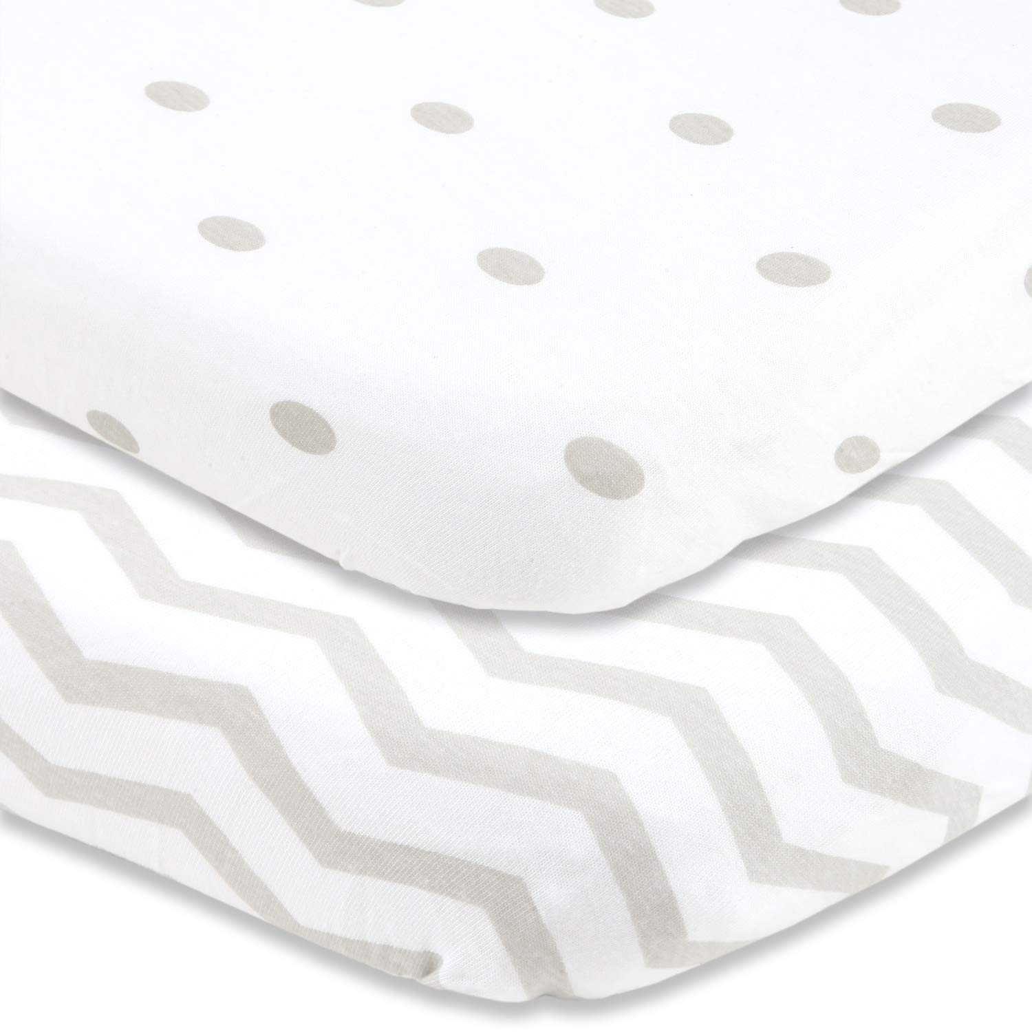 Cuddly Cubs Pack n Play Sheets | 2 Pack Playard Sheet for Baby Girl and Boy | 100% Jersey Cotton Unisex Mini Portable Crib Sheets | Polka Dots and Chevron in Grey | Best Baby Shower Gift | Fits Graco