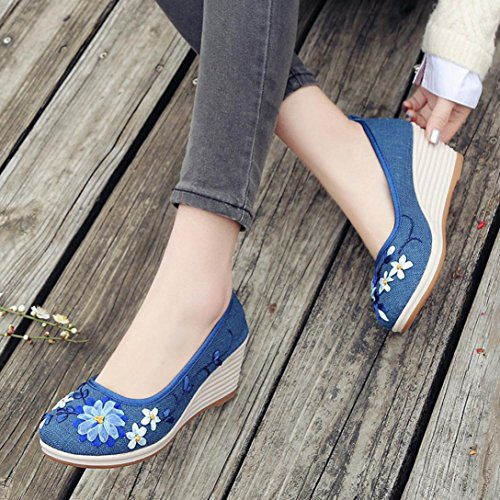 Avec Bohème Pantoufles Broderie National Féminin Chaussures Le Mode De Pied Coton Femmes Vent Femme Bleu Sandales Jiangfu Rome Été Plat YxUq6n41w