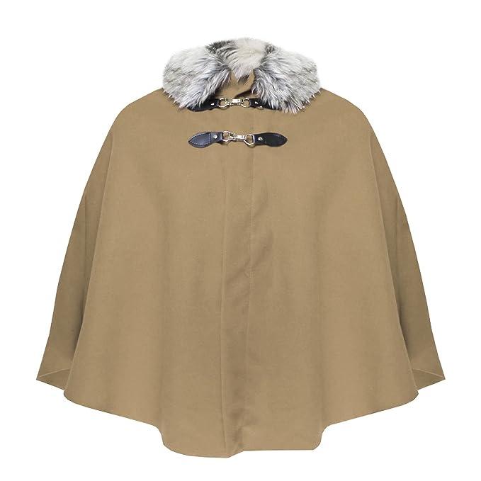 ZipZappa Capa de Piel sintética con Cuello, Poncho para Mujer, Abrigo, Ropa de