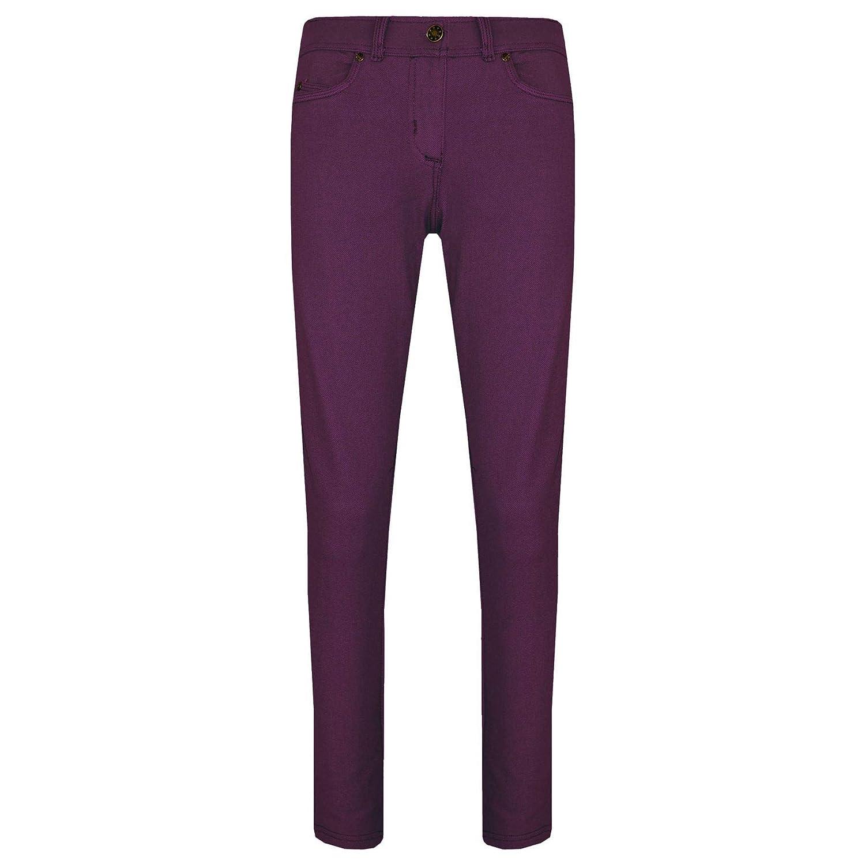 Girls Skinny Jeans Kids Purple Stretchy Denim Jeggings Fit Pants Trousers 5-13Yr