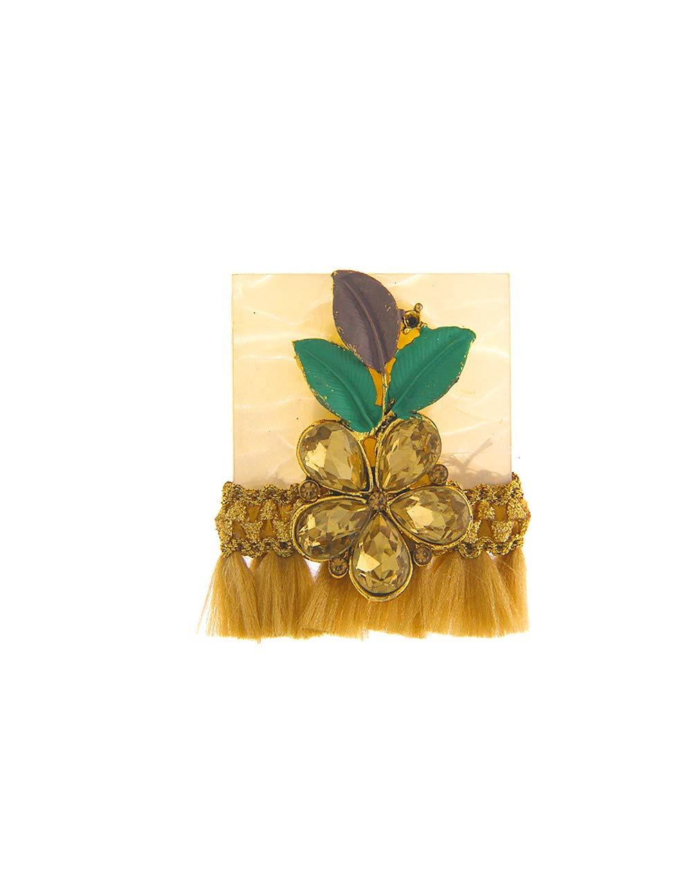 Anuradha Art Golden Finish Styled with Studded Stone Adorable Sari/Saree Pin for Women/Girls