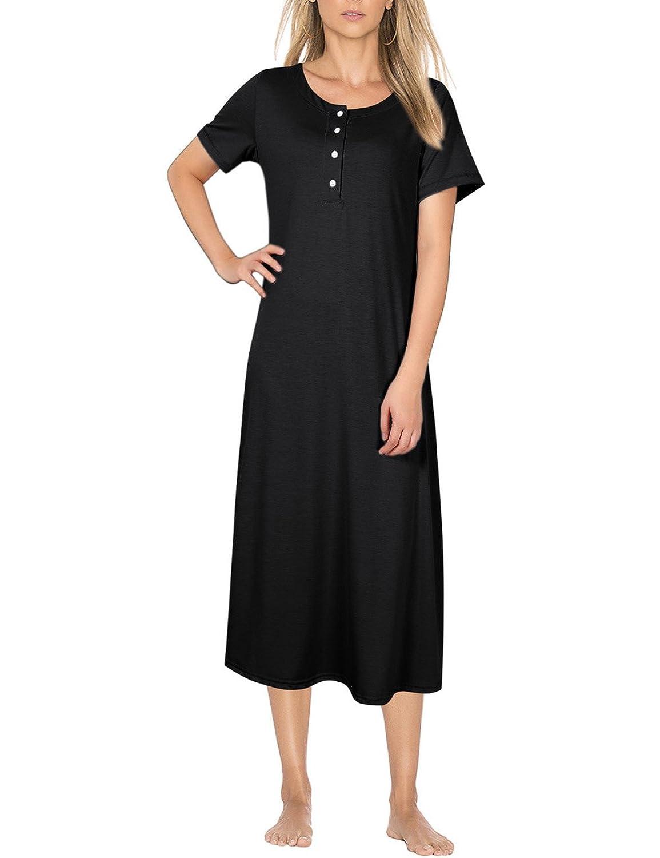 Coolmee Women's Knit Cotton Long Sleeve Nightgown For Women Long Henley Sleep Dress