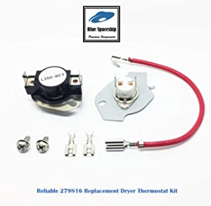 Reliable 279816 Dryer Thermal Cut-Off Kit Replacement Part Fit for Whirlpool, KitchenAid, Roper, Maytag Dryers- 1 set/pack, Replace part No. 3977393 3399848 AP3094244