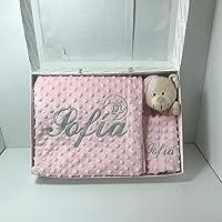Manta bebé minicuna y capazo más dou-dou, doble capa rosa bebé, personalizada con el nombre bordado (medidas 80 x 110 cm…