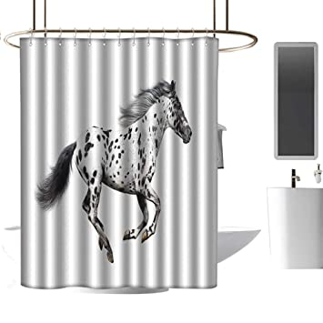 Printing Ink White Horse Polyester Waterproof Bathroom Fabric Shower Curtain