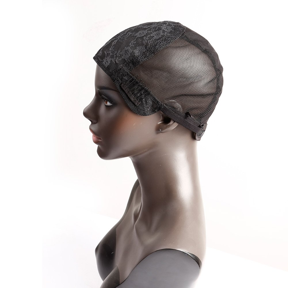 Bella Hair Glueless Wig Caps for Women Making Wig with Combs and Adjustable Straps Swiss Lace Black Medium Size by Bella Hair
