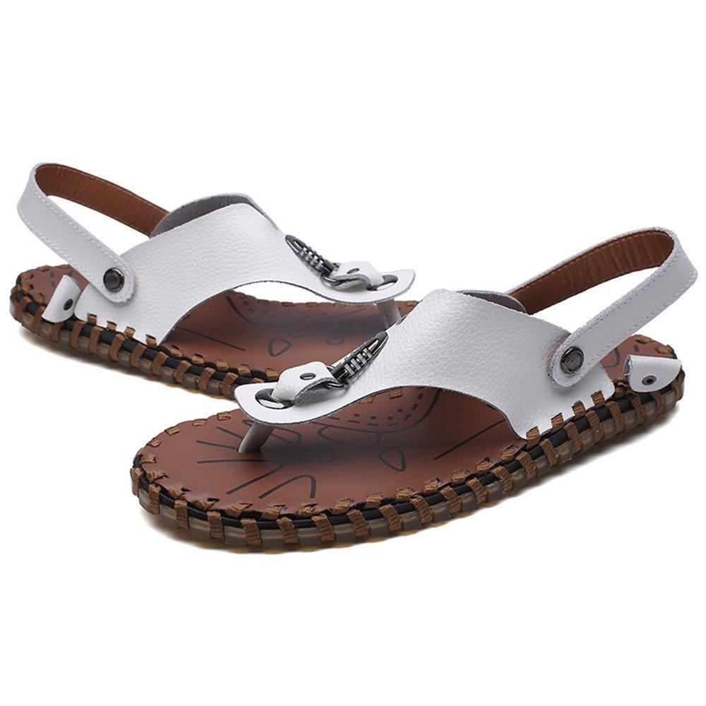 Männer Casual Flip Aus Flops Schuhe Aus Flip Echtem Leder Strand Hausschuhe Rutschfeste Handarbeit Weichen Flachen Sandalen,für Männer Weiß 7db284