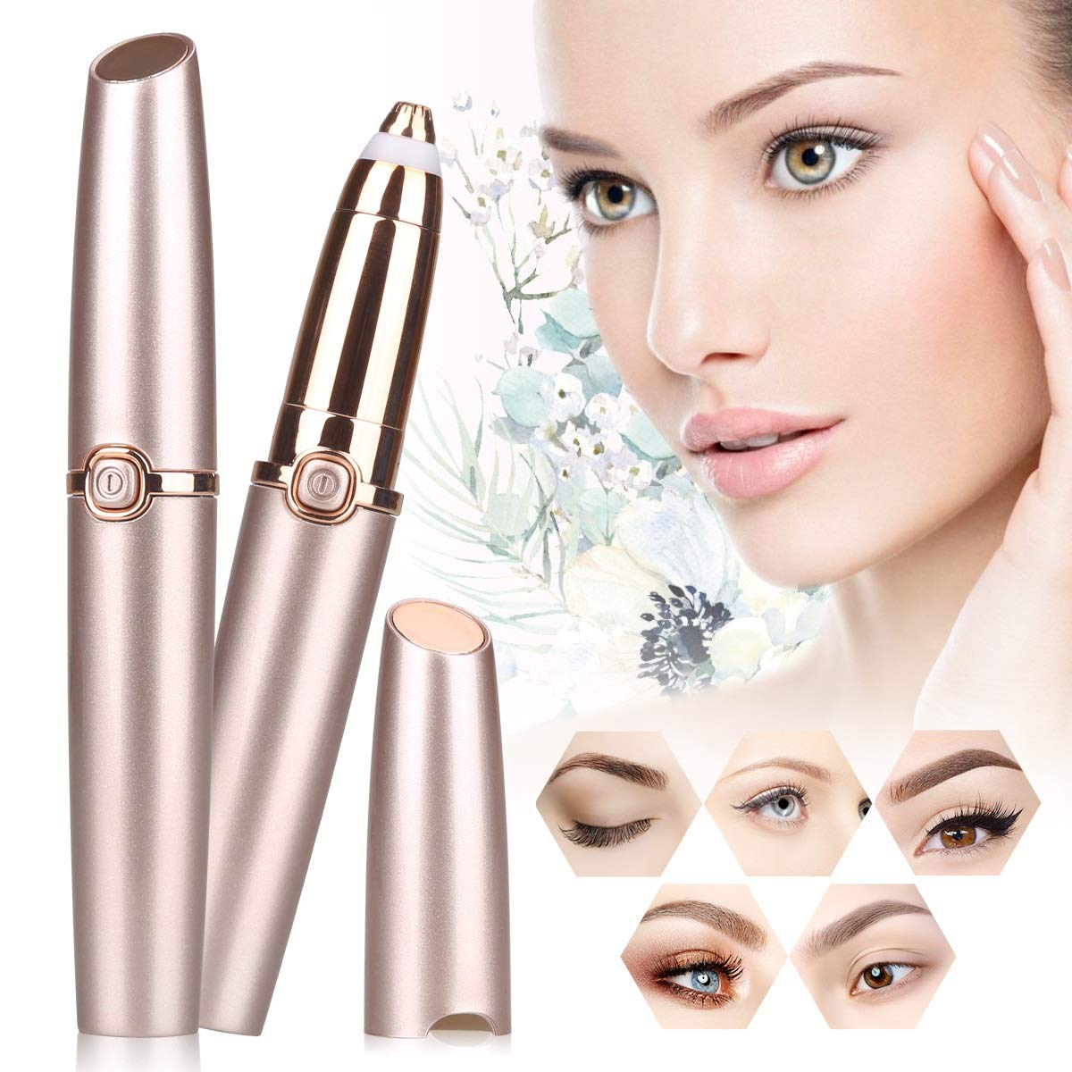 LordFord Eyebrow Hair Remover Hassle-free Portable Eyebrow Hair Removal Razor with Light Battery Included Rose Gold