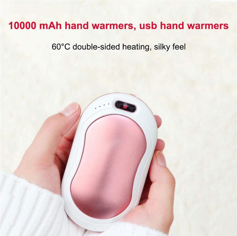 Warm Gift Rechargeable Pocket Hand Warmer 3 Levels Temperature Portable Hand Heater with 10000mAh Charging Treasure Double-sided Heating Hand Protector for Camping Runningfish USB Hand Warmers