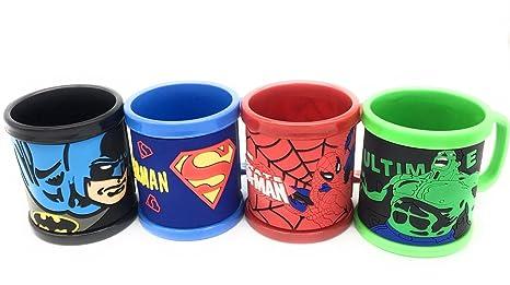 SK Tm Superhero Characterpack Of 4 Kid Plastic Mugs Gift For Diwali