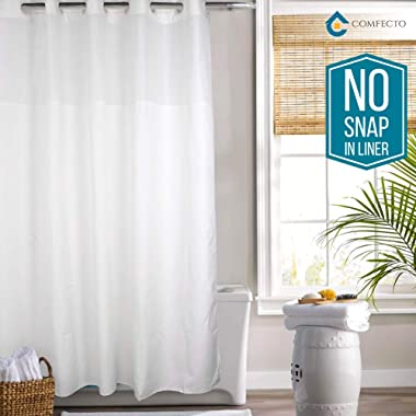 Hookless Shower Curtain by COMFECTO, [NO SNAP IN LINER] 70x74 Inch Anti Bacterial Mold Mildew Resistant Hotel Bathroom Curtains with Light-Filtering Mesh Screen and Magnets, Machine Washable, White