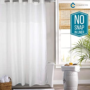 Amazoncom Hookless Shower Curtain By Comfecto No Snap In Liner