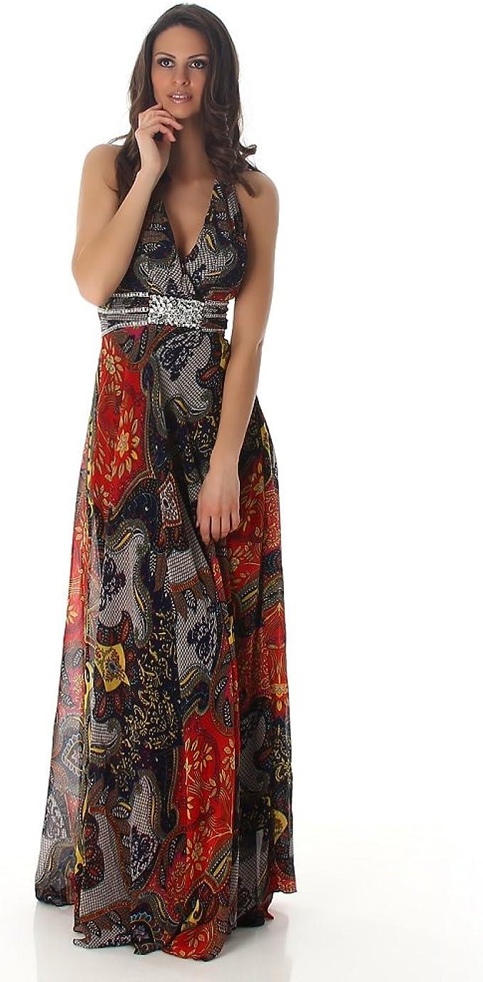 Fashion Neckholder Abendkleid mit Pailletten Langes Ballkleid
