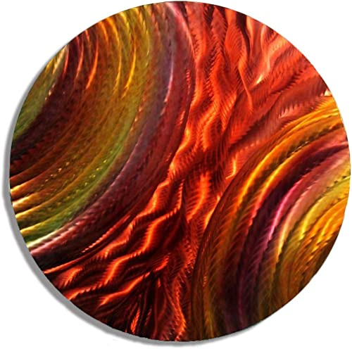 Statements2000 Radiant Red, Yellow Orange Jewel Tone Circular Abstract Modern Metal Wall Art Hanging – Home Accent, Home Decor, Circle Wall Sculpture – Lava Stream by Jon Allen