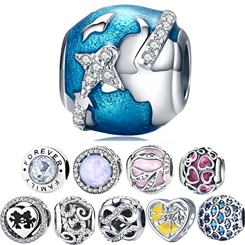 WOSTU Silver Bead Charms 925 Sterling Silver Blue Earth Travel Beads for Charm Bracelets Charm Jewelry ()