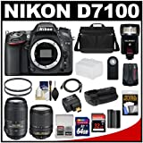 Nikon D7100 Digital SLR Camera with 18-140mm and 55-300mm VR Lenses, WU-1a, Bag and 32GB and 64GB Card + Battery and Grip + Flash and Diffuser + Geotag GPS Adapter + Filters + Kit, Best Gadgets