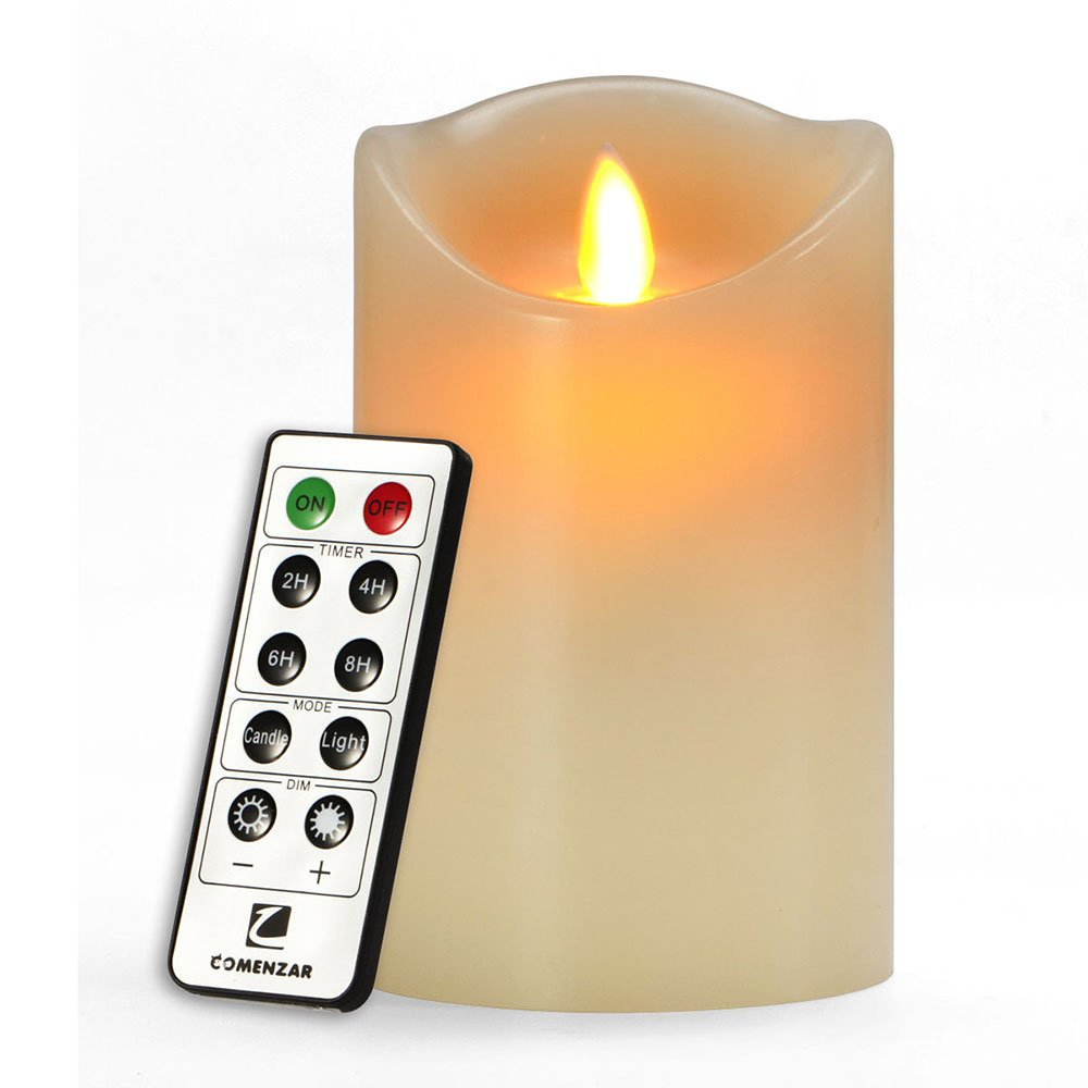 comenzar 5 battery operated flickering flameless candle with remote timer new ebay. Black Bedroom Furniture Sets. Home Design Ideas