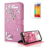 Funyye 3D Bling Flower Diamond Wallet Leather Case for Samsung Galaxy A8 Plus 2018,Pink Premium Glitter Crystal Shiny Rhinestone PU Leather Protective Cover Case,Multifunctional Magnetic Flip with Stand Credit Card Holder Slots Case for Samsung Galaxy A8 Plus 2018 + 1 x Free Screen Protector