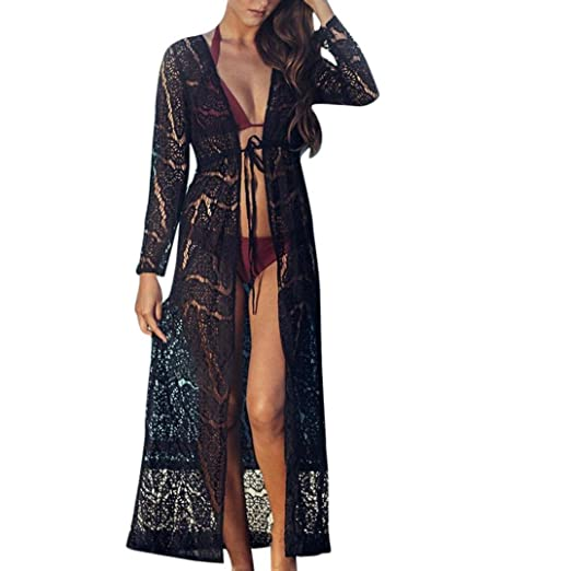 f56dc79aab BCDshop Women Boho Beach Bikini Maxi Cover up Sexy Lace Crochet Kimono Top  Beachwear (Black