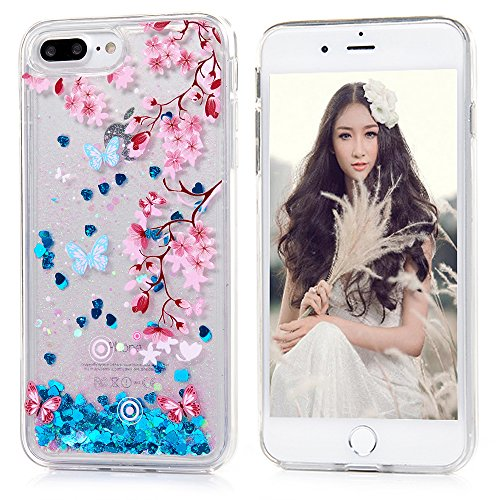 YOKIRIN iPhone 7 Plus Case, Transparent Crystal Clear Soft Flexiable TPU Plastic Shell 3D Handmade Bling Blue Sparkle Glitter Quicksand Star Flowing L…