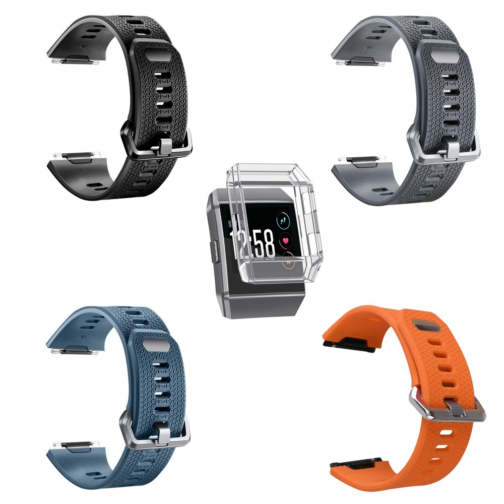 For Fitbit Ionic Band, MeriCino Soft Silicone Sport Band Replacement Strap Fashion Accessory Adjustable Fitness Smart Watch Wristband for Women Men, ...