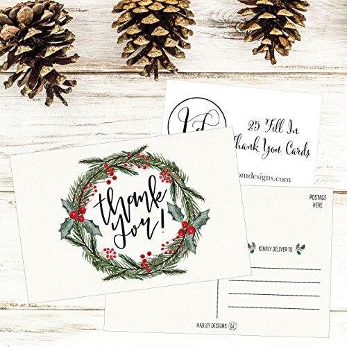 25 4x6 Blank Christmas Holiday Thank You Postcards Bulk, Cute Modern Fancy Winter Note Card Stationery For Wedding Bridesmaids, Bridal or Baby Shower, Teachers, Appreciation, Religious, Business Cards Photo #6
