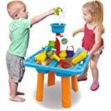 Happytime Kids Sand and Water Table Outdoor Indoor Beach Play Activity Table Sandbox with Cover and 18 Pcs Accessories…