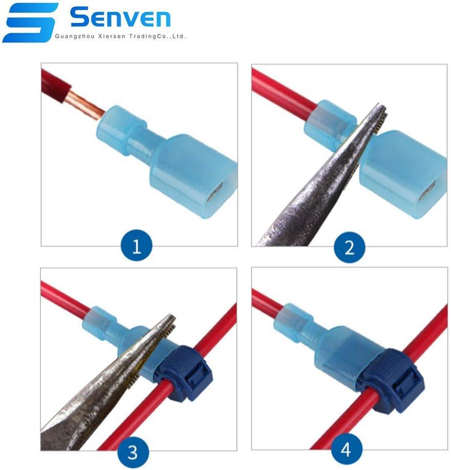Rojo 25 Pares, Azul 25 Pares, Amarillo 15 Pares Grifo de Empalme de Cable R/ápido y Conector Macho Spade Completamente Aislado T-Tap Empalme R/ápido Kit Senven/® 130Pcs T-Tap Terminal Cable