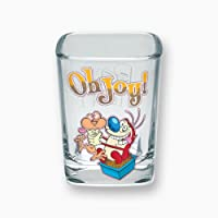 "ICUP Nickelodeon - Nick 90's Ren & Stimpy""Oh Joy"" Square Clear Shot Glass"