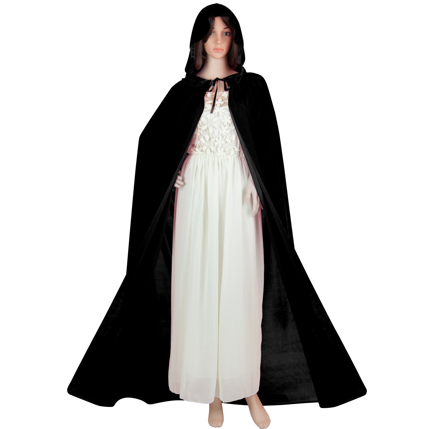 Victorian Wraps, Capes, Shawl, Capelets Hooded Cape Acecharming Medieval Style Floor Length Adults Velvet Cosplay Cloak with Hood for Devil Witch Wizard Magician $20.99 AT vintagedancer.com